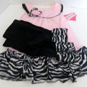Angel Face Girl's 2 Piece Zebra Print Pink 18 Mo